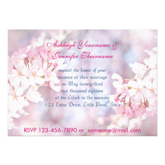 Hello Spring Pink Sakura Cherry Blossom Watercolor Custom Invites