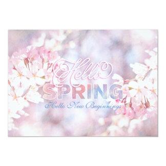 Hello Spring Pink Sakura Cherry Blossom Watercolor 5x7 Paper Invitation Card