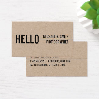"""Hello"" Stylish Modern Minimalist Kraft Paper Business Card"
