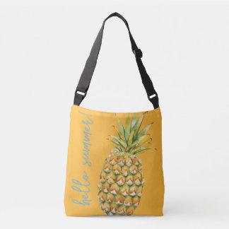 Hello Summer! Pineapple/Starfish Lg Tote-Tangerine Crossbody Bag