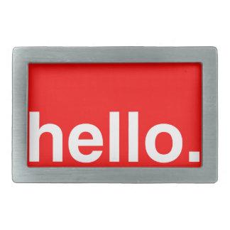 HELLO Typography Greeting Rectangular Belt Buckles