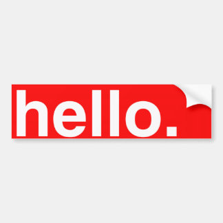 HELLO Typography Greeting Bumper Sticker