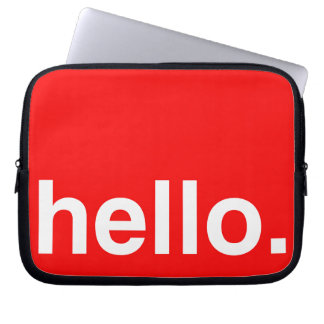 HELLO Typography Greeting Laptop Computer Sleeve