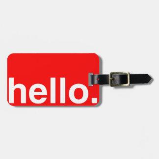 HELLO Typography Greeting Bag Tag