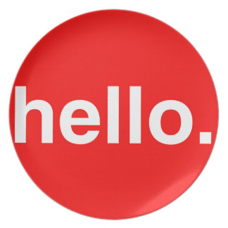 HELLO Typography Greeting Dinner Plates