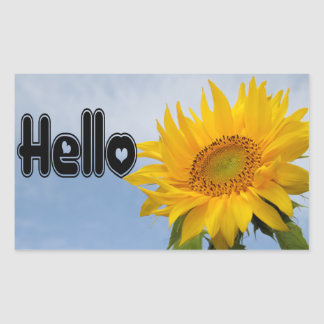 Hello Yellow Sunflower Floral Greeting Stickers