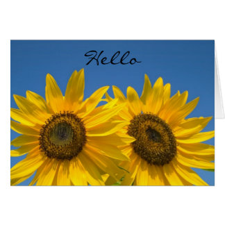 Hello  Yellow Sunflowers  Blank Greeting Note Card