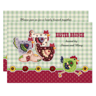 Hen Country Design Easter Brunch Invitations