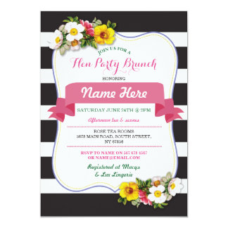 Hen Party Brunch Shower Stripe Floral Pink Invite
