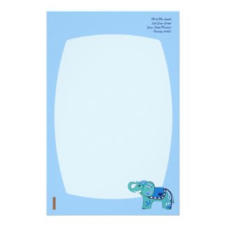Henna Elephant (Blue/Light Blue) Stationery