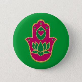 Henna Hamsa Lotus Green & Pink 6 Cm Round Badge
