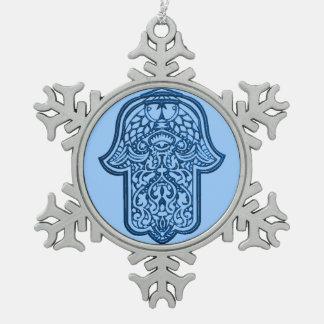 Henna Hand of Hamsa (Blue) Snowflake Pewter Christmas Ornament