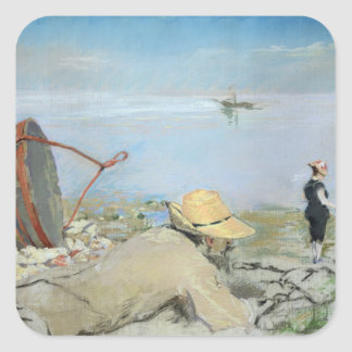 Henri Guerard Relaxing on the Beach (pastel on can Square Sticker