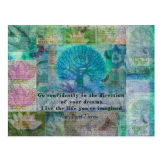 Henry David Thoreau motivational quote Postcard