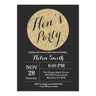 Hens Party Black and Gold Glitter Invitation Card