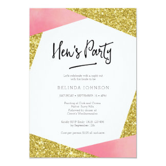 Hen's Party Invitation | Pink & glitter