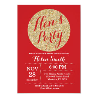 Hens Party Red and Gold Glitter Invitation Card