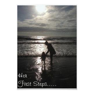 Her First Steps Christening invitation