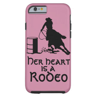 Her Heart is a Rodeo Barrel Racing Cowgirl Tough iPhone 6 Case