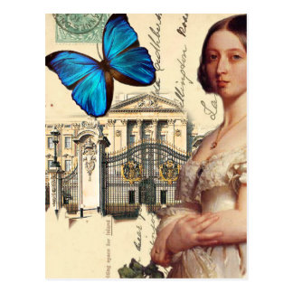 Her Majesty Queen Victoria, with blue butterfly, Postcard