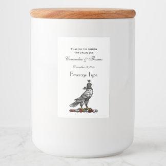 Heraldic Hunting Falcon Wearing Helmet Hood C Food Label