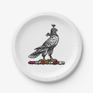 Heraldic Hunting Falcon Wearing Helmet Hood C Paper Plate
