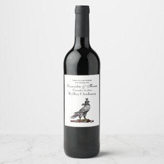 Heraldic Hunting Falcon Wearing Helmet Hood C Wine Label