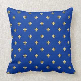Heraldic Lilly on Royal Blue Background Cushion