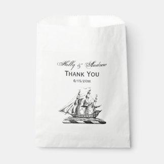 Heraldic Vintage Nautical Clipper Ship Crest Favour Bags