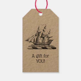 Heraldic Vintage Nautical Clipper Ship Crest Gift Tags