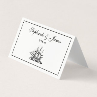 Heraldic Vintage Nautical Clipper Ship Crest Place Card