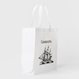 Heraldic Vintage Nautical Clipper Ship Crest Reusable Grocery Bag