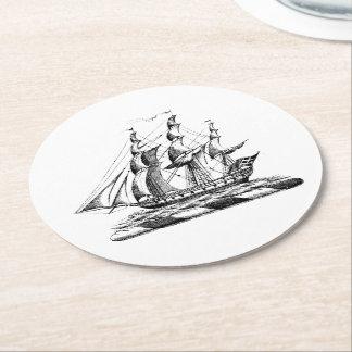 Heraldic Vintage Nautical Clipper Ship Crest Round Paper Coaster