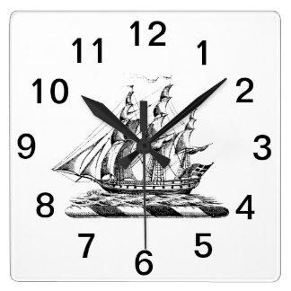 Heraldic Vintage Nautical Clipper Ship Crest Square Wall Clock