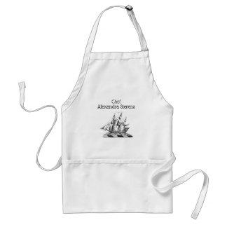 Heraldic Vintage Nautical Clipper Ship Crest Standard Apron
