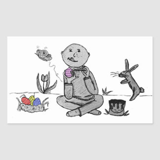 Herbert paints Easter Eggs Rectangle Stickers