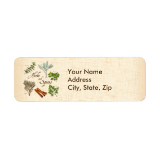 Herbs and Spices, Rosemary, Sage, Thyme, Cinnamon Return Address Label
