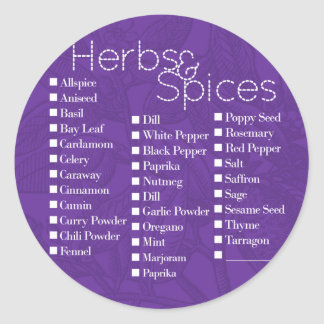 Herbs & Spices Label Classic Round Sticker