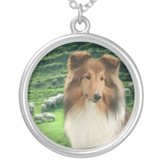 Herding Sheltie Silver Plated Necklace