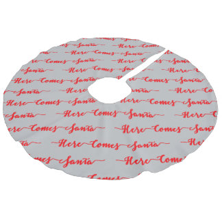 Here Comes Santa Red Text Christmas Silver Faux Linen Tree Skirt