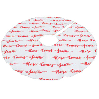 Here comes Santa Red Text Christmas White Faux Linen Tree Skirt