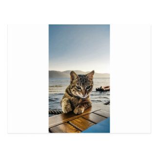 """""""Here I am"""" says the Cat Postcard"""