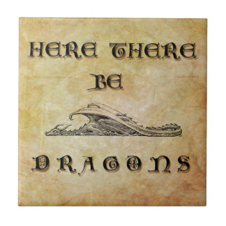 Here There Be Dragons Small Square Tile