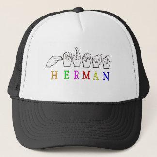 HERMAN ASL FINGER SPELLED NAME SIGN TRUCKER HAT