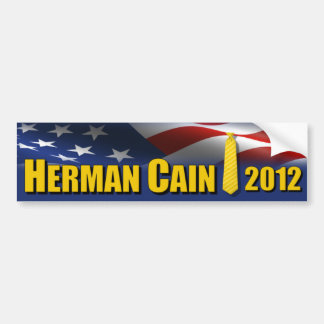 Herman Cain Yellow Tie 2012 Car Bumper Sticker