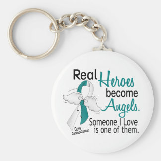 Heroes Become Angels Cervical Cancer Basic Round Button Key Ring