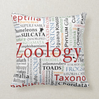Herpetology in Typography Throw Pillows