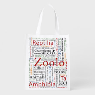 Herpetology in Typography Grocery Bag