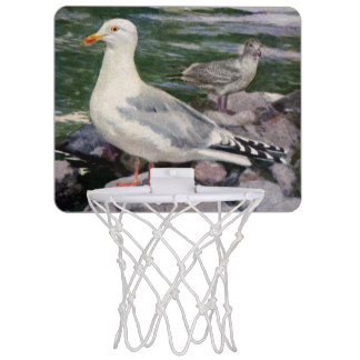 Herring Gulls on Rocky Shoreline Mini Basketball Hoop