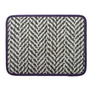 Herringbone Tweed Rustic Black & White Knit Print Sleeve For MacBook Pro